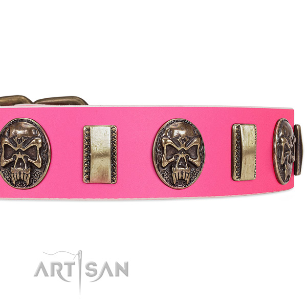 Rust-proof buckle on full grain leather dog collar for your doggie