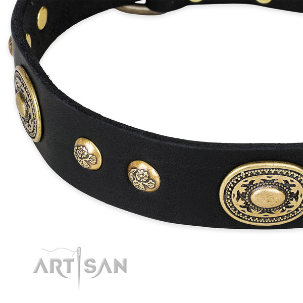 Easy to adjust full grain leather collar for your impressive canine