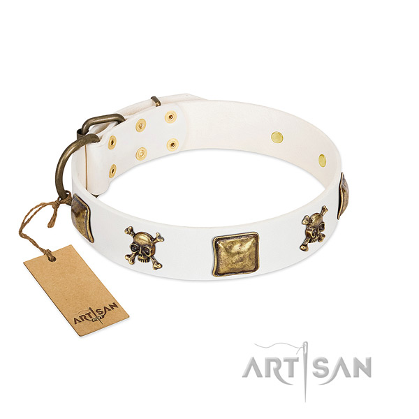 Unique full grain genuine leather dog collar with durable embellishments