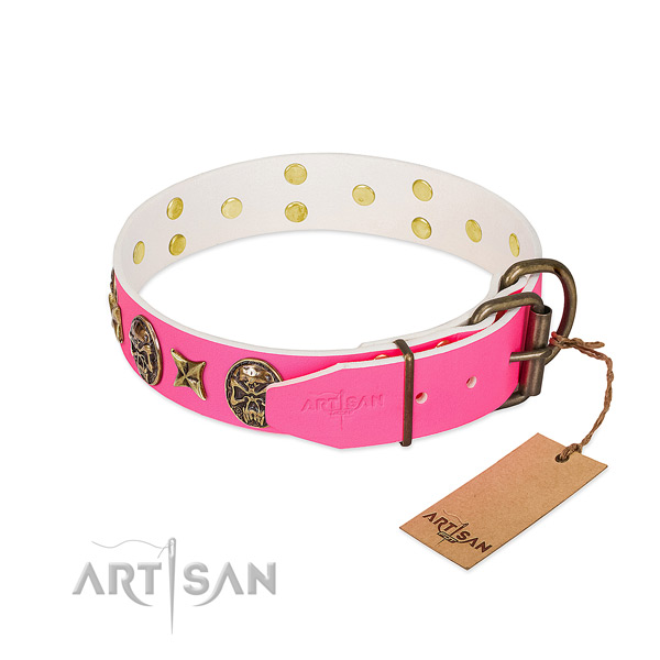 Durable traditional buckle on full grain genuine leather collar for walking your dog