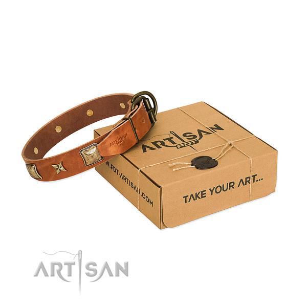 Handmade full grain genuine leather collar for your handsome pet