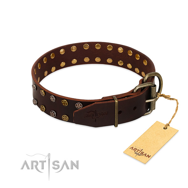 Comfy wearing full grain genuine leather dog collar with designer adornments