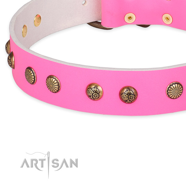 Comfortable natural genuine leather collar for your attractive four-legged friend
