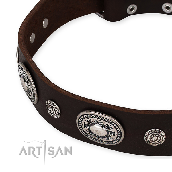 Soft to touch natural genuine leather dog collar handcrafted for your impressive doggie