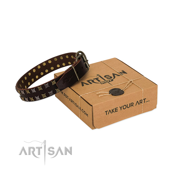 Gentle to touch full grain leather dog collar crafted for your canine