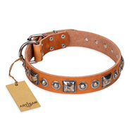 """Era of Future"" FDT Artisan Handcrafted Tan Leather Rottweiler Collar with Decorations"