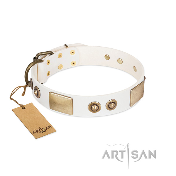 Strong D-ring on leather dog collar for your doggie