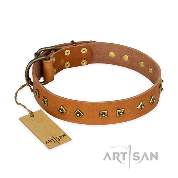 Convenient full grain natural leather dog collar with durable hardware