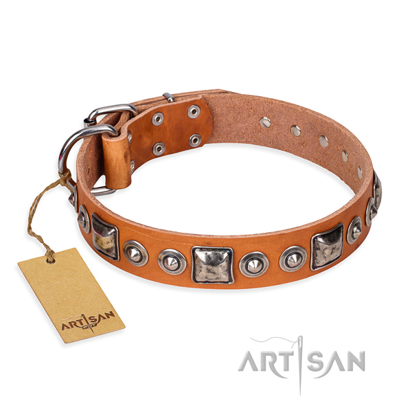 Full grain genuine leather dog collar made of soft material with corrosion resistant traditional buckle