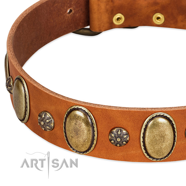 Handy use flexible genuine leather dog collar