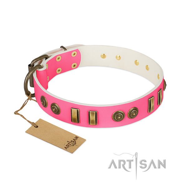 Adorned full grain natural leather collar for your pet