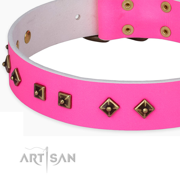 Amazing full grain natural leather collar for your beautiful doggie