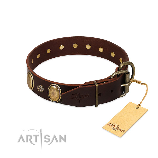 Comfy wearing flexible leather dog collar