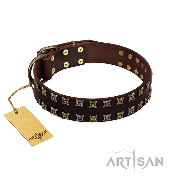 Soft to touch full grain natural leather dog collar with decorations for your doggie