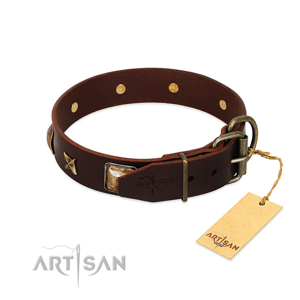 Full grain natural leather dog collar with corrosion proof buckle and adornments
