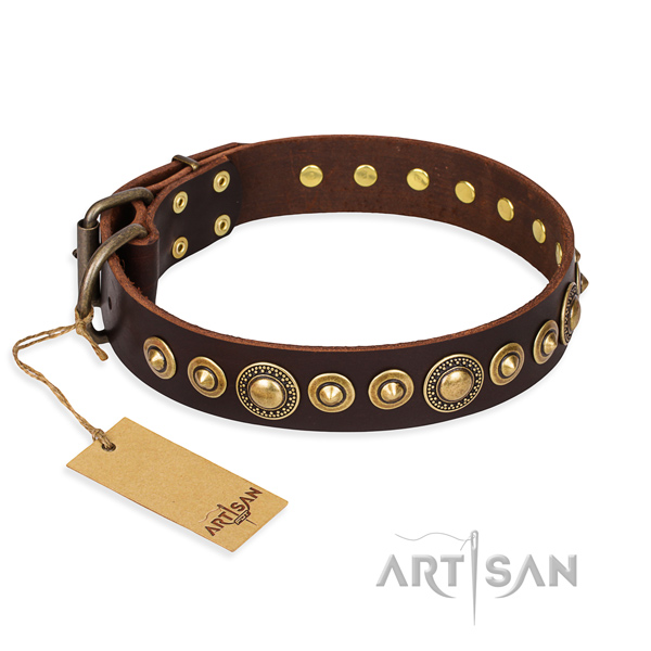 Soft to touch full grain natural leather collar handcrafted for your pet