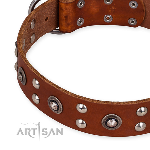 Full grain genuine leather collar with corrosion proof D-ring for your lovely canine