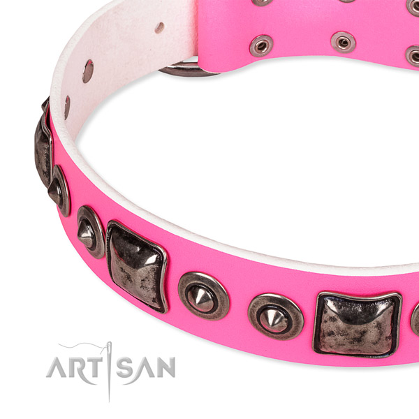 Best quality full grain genuine leather dog collar made for your lovely dog