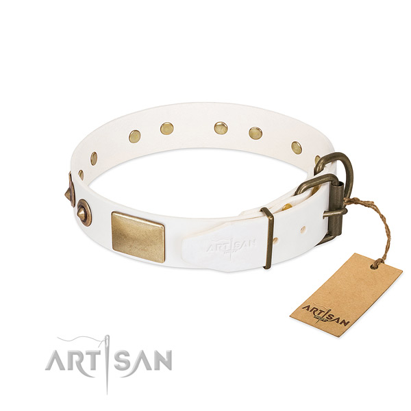 Durable traditional buckle on full grain natural leather dog collar for your doggie