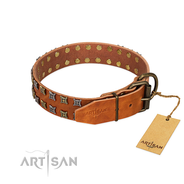 Top rate full grain leather dog collar handcrafted for your canine