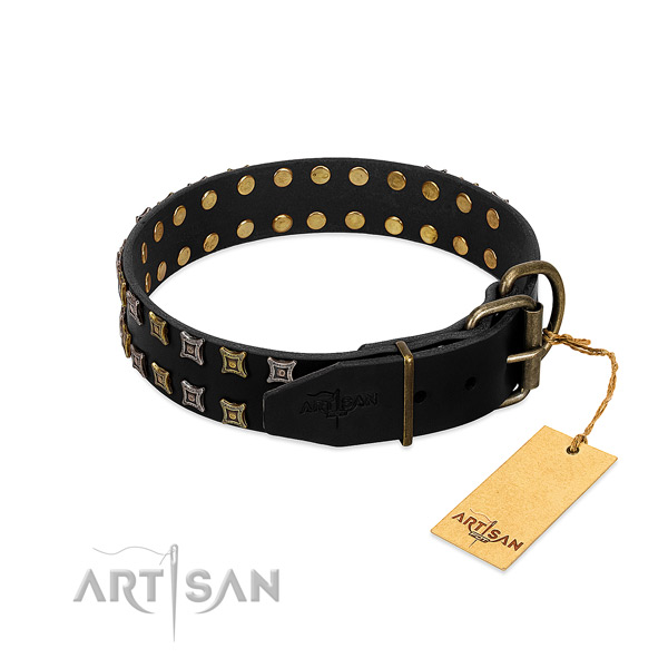 Best quality full grain leather dog collar made for your doggie