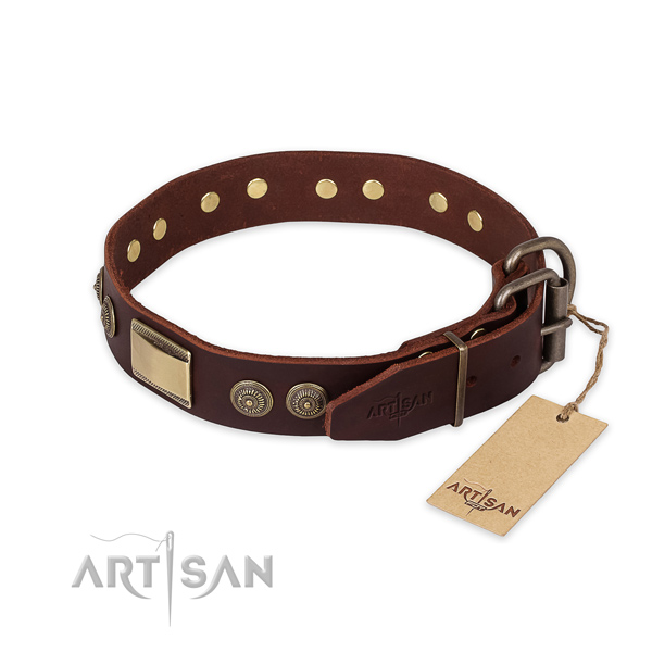 Corrosion resistant D-ring on full grain genuine leather collar for everyday walking your four-legged friend