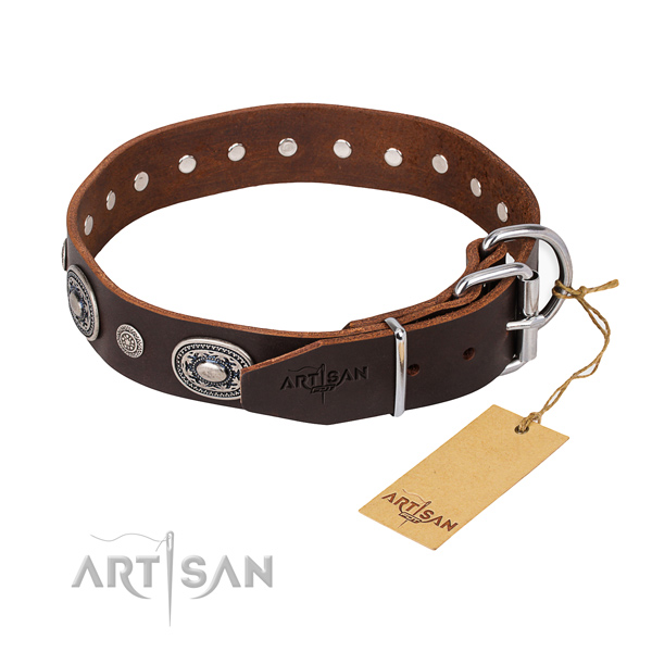 Soft full grain natural leather dog collar handmade for stylish walking