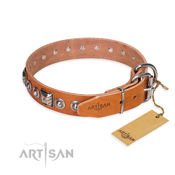 Full grain genuine leather dog collar made of soft material with corrosion proof decorations