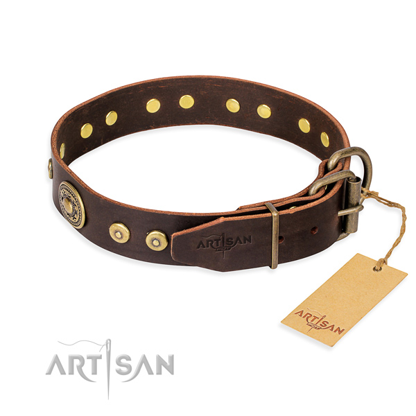 Full grain leather dog collar made of high quality material with durable studs