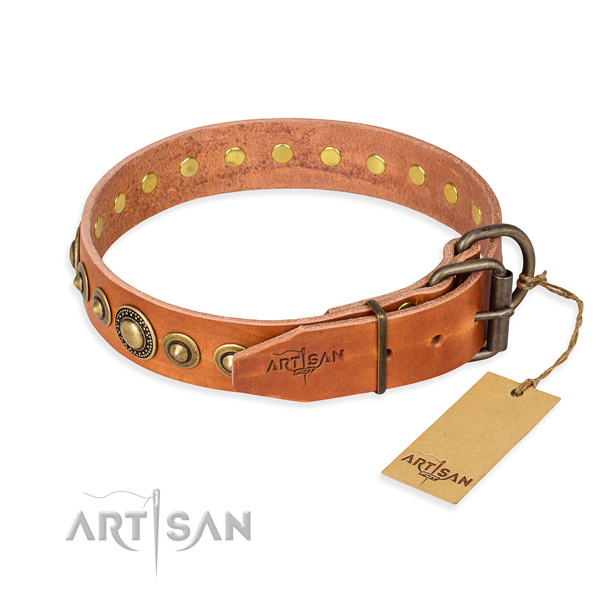 High quality natural genuine leather dog collar created for comfy wearing