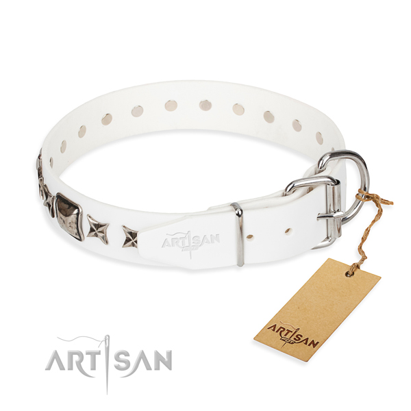 Fine quality decorated dog collar of full grain leather
