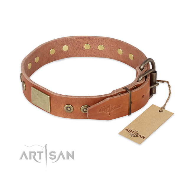 Strong D-ring on full grain natural leather collar for basic training your dog