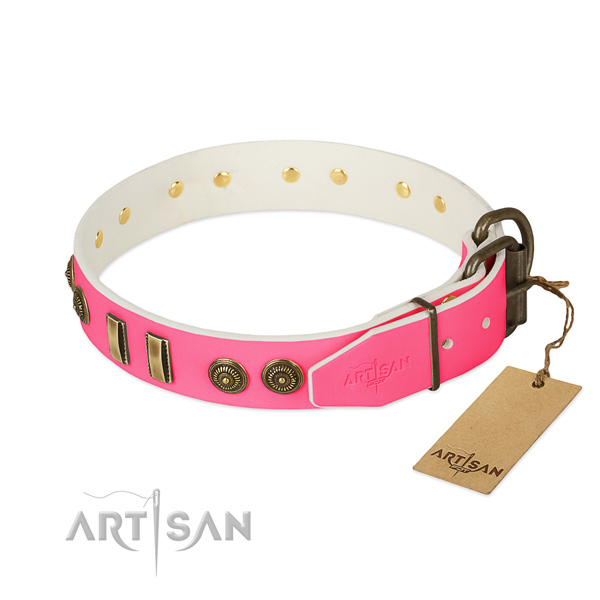 Corrosion proof buckle on full grain natural leather dog collar for your canine