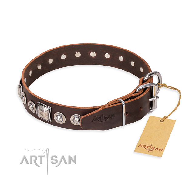 Natural genuine leather dog collar made of top notch material with corrosion proof embellishments