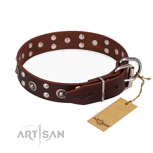Rust resistant traditional buckle on leather collar for your lovely dog