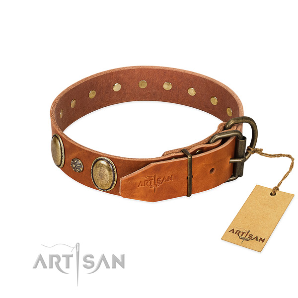 Easy wearing soft to touch genuine leather dog collar