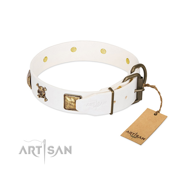 Extraordinary full grain genuine leather dog collar with durable embellishments