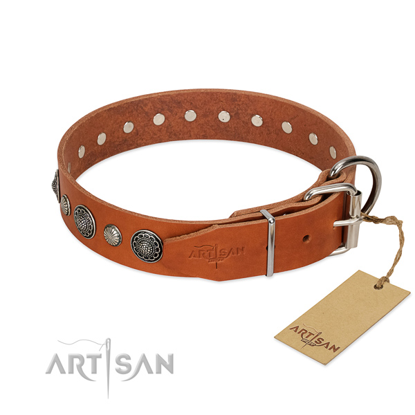Best quality leather dog collar with rust resistant D-ring