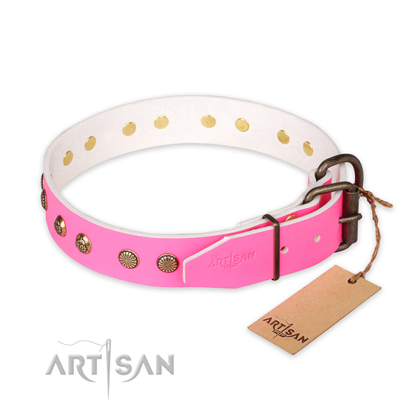 Rust resistant hardware on full grain genuine leather collar for your impressive doggie