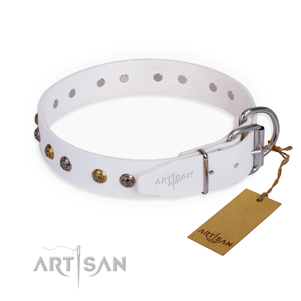 Natural leather dog collar with fashionable corrosion resistant decorations