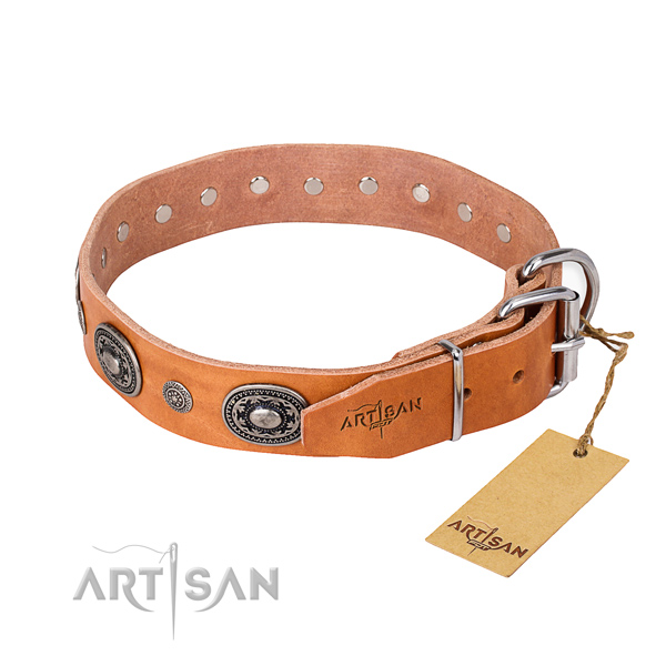 Flexible leather dog collar crafted for fancy walking