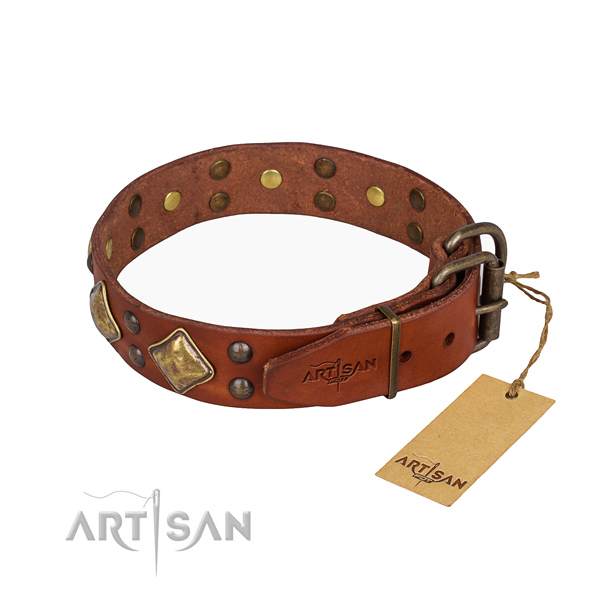 Full grain leather dog collar with exquisite corrosion proof adornments