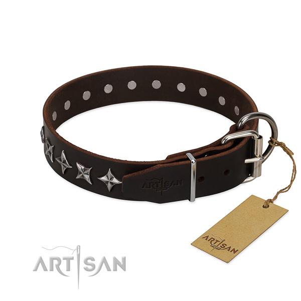 Comfortable wearing embellished dog collar of top quality natural leather