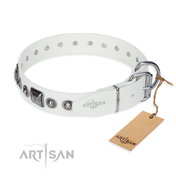 Durable natural genuine leather dog collar created for stylish walking