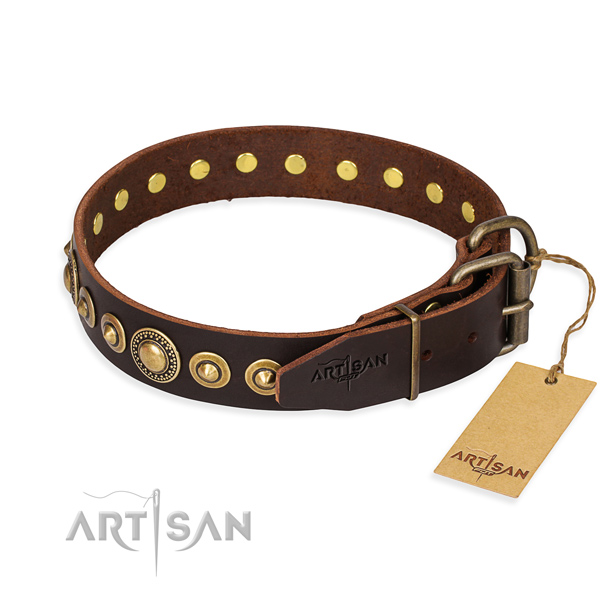 Strong leather dog collar handmade for walking