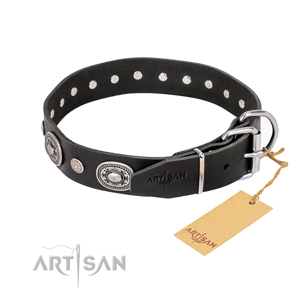 Reliable genuine leather dog collar handmade for comfy wearing