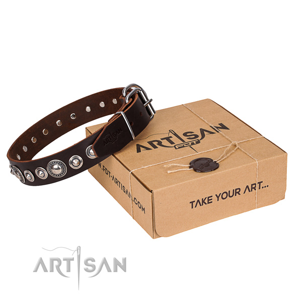 Genuine leather dog collar made of reliable material with corrosion resistant fittings