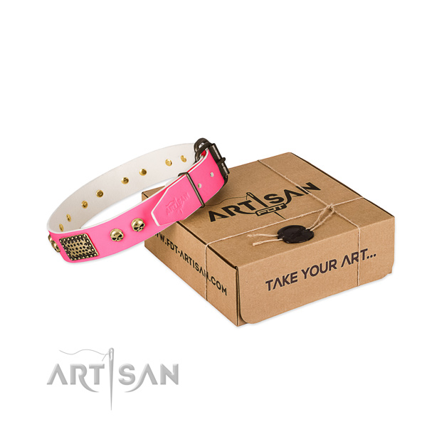 Durable adornments on dog collar for comfortable wearing