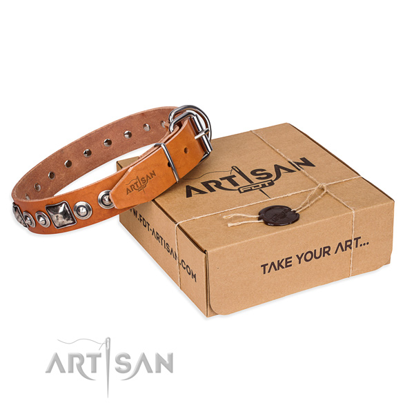 Full grain natural leather dog collar made of best quality material with corrosion resistant fittings