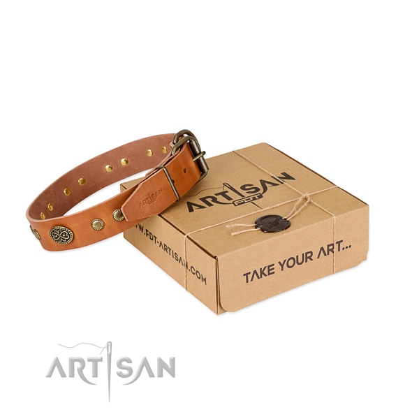 Rust-proof decorations on full grain natural leather dog collar for your dog